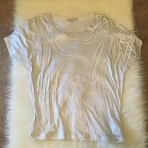 Michael Kors silver dusted white top like new